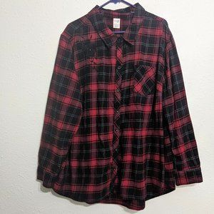Terra & Sky Red Plaid Embroidered Top Size 3X